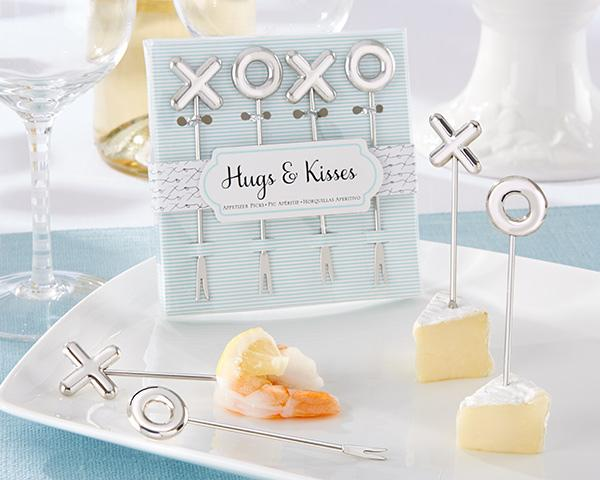 120pcs/lot=30sets=30boxes Wedding party favors-XOXO Stainless Steel Appetizer Picks and Fruit Picks Birthday cake Picks Bridal Shower