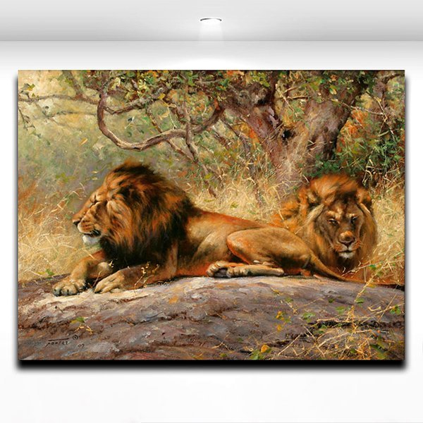 Lion Africa Wild Animal Wall Paitning Printed on Canvas Mural Art Picture for Home Living Room Wall Deocr
