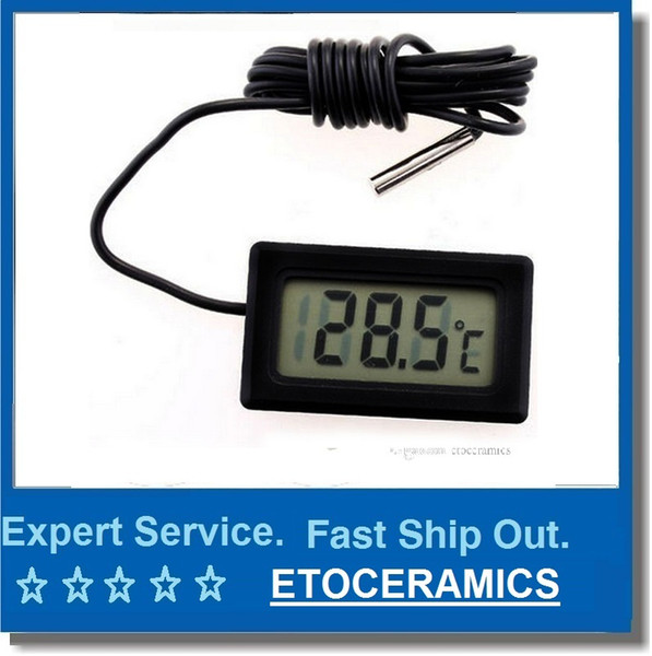 best selling Mini Thermometer small Digital LCD Combo Sensor Wired Aquarium Thermometer Freezer Thermometer -50~110C Controller GT black