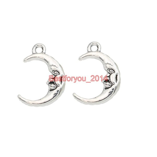 Tibetan Silver Plated Moon Face Charm Pendant Jewelry Making Bracelet Findings Components Accessories Craft DIY Handmade