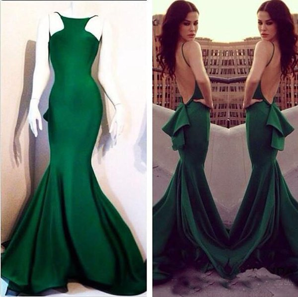 Dark Green Mermaid Backless Sexy Prom Dresses 2017 Vestido de Formatura Bridal Party Wear Long Evening Gown