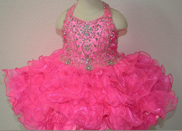 New Fuchsia Rosie Girls Kids Pageant Dresses Formal Occasion Tiers Beaded Organza Halter Mini Prom Party Baby Little Girl Gowns 2016 Hot