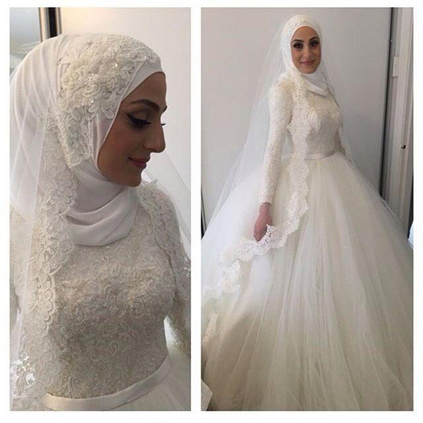 Long Sleeves Muslim Wedding Dresses Lace Ball Gown Bridal Gown Round ...