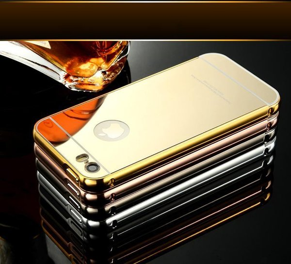 Luxury Aluminum Ultra-thin Mirror Metal Bumper Case Clear PC Cover Frame for iPhone 6 6S Plus 5S 50pcs up