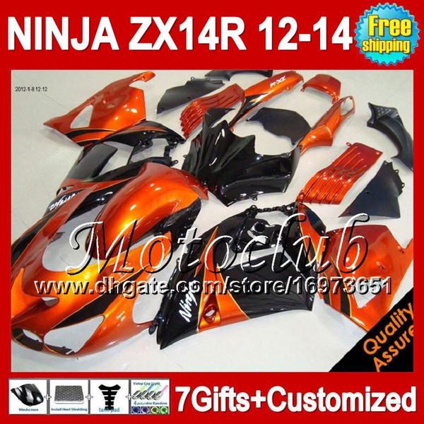 7grados para KAWASAKI Naranja negro NINJA ZX-14R 2012 2013 2012 2013 ZX 14 R 25C63 Naranja brillante ZX 14R 12-13 ZX14R 12 13 12 13 ZX14 R Carenado