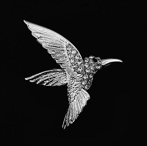 Free Shipping ! Top Jewelry Wholesale Beautiful Rhodium Silver Plated Clear Rhinestone Crystal Diamante Hummingbird Pin Brooch