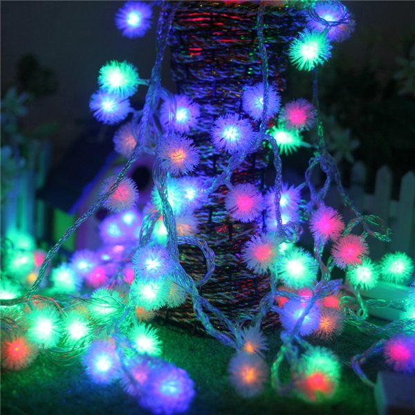 Color Changing Christmas Lights.10m 50 Leds Furry Ball Rgb Edelweiss Led String Light Colorful Rgb Color Changing Christmas Decoration White String Lights Battery Powered String