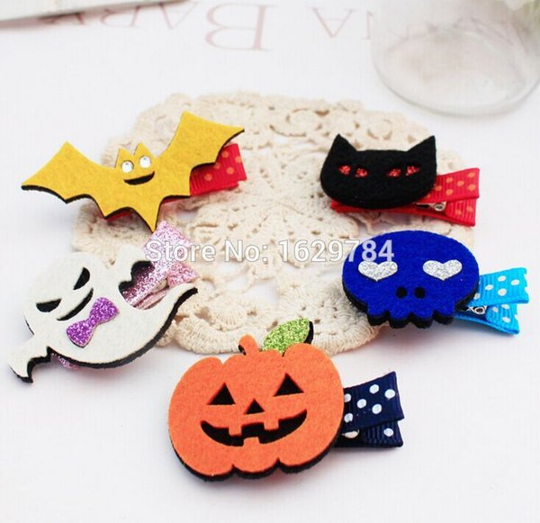 30pcs Fashion Cute Felt Halloween Girls Hairpins Solid Kawaii Glitter Ghost Bat Pumpkin Cat Hallowmas Hair Clips Party Headware