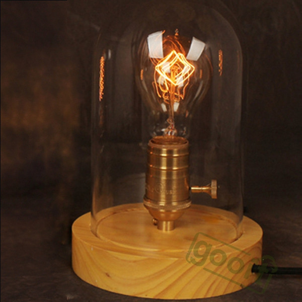 Wholesale-American Country Vintage Style Style Solid Wood LOFT Table Lamp Edison lighting lampholder