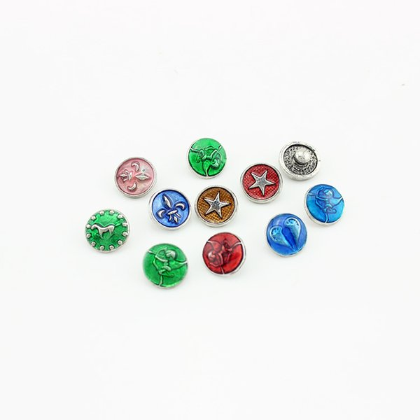 20pcs/lot High quality 12mm Mixed Styles Enamel Snap Button DIY Charm Button Ginger Snaps Jewelry Randomy SN043