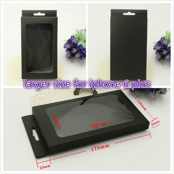 No printing Black Kraft Paper Retail Packaging For iPhone 6 plus case for Samsung S3 S4 S5 Note3 4 5 Phone Case Box