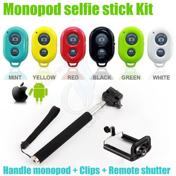 Kit monopiede selfie portatile Supporto monpode Stick + Bluetooth controller otturatore remoto + clip andriod telefono iphone fotocamera DHL freeshipping
