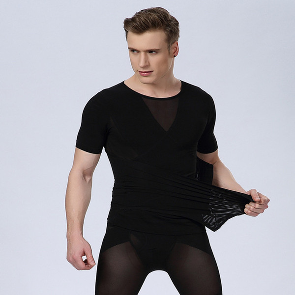 Mens Body Shaper Corset homme waist trainers for men belly abdomen tummy slimming t shirt fat burn reducer vest man black white