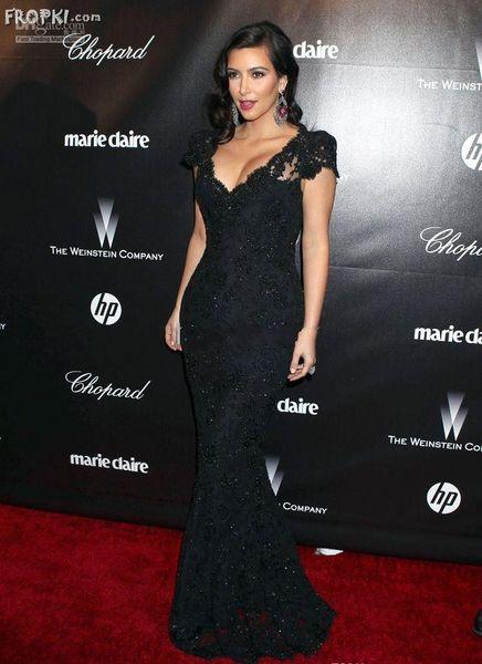 2019 Kim Kardashian Evening Dress Black Mermaid V Neck Crtstal Short Sleeve Lace Celebrity Red Carpet Evening Gowns Prom Dresses Long Sleeve Evening