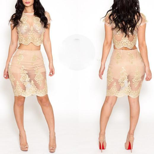 Sexy Women Nude Bandage Dress Gold Flower Embroidered Lace Bodycon Dress Fashion High Quality Party Bandage Dresses B31 White Cocktail Party Dress