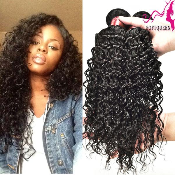 Erstklassiges peruanisches tiefes Wellen-Haar 3pcs malaysisches indisches brasilianisches Remy reines Haar nasses und wellenförmiges Menschenhaar-Produkt-weiches Königin-Haar