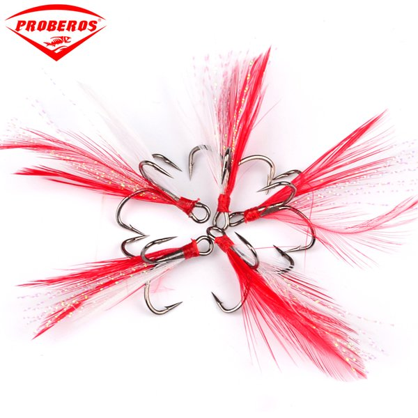 New Equipment 2#-10# Black Fishing Hook with Red Feather Fishing Tackle 100pc/Lot Fishing Lure Tool