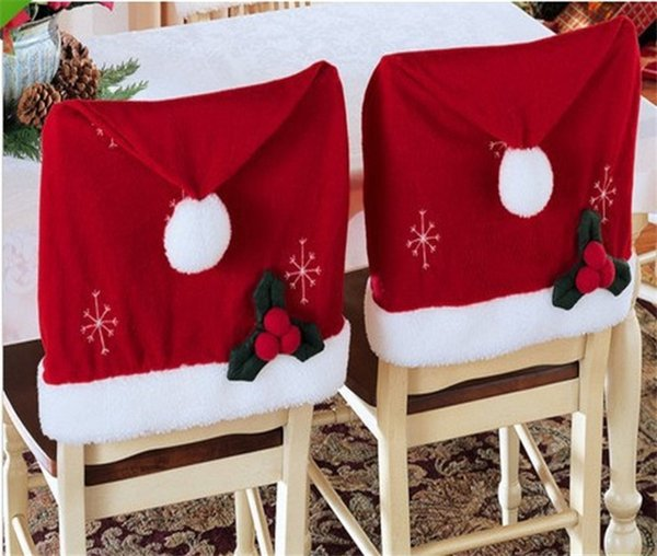4Pcs/Lot New Year Santa Red Hat Dining Chair Covers Christmas Coverings Dinner Chair Xmas Chair Cap Sets Decoracion 57*46cm Free Shipping