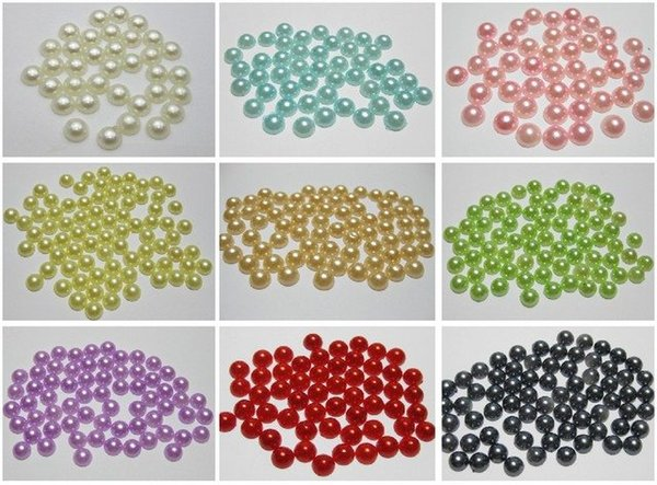 1000 Mixed Color Half Pearl Bead 6mm Flat Back Gem Scrapbook
