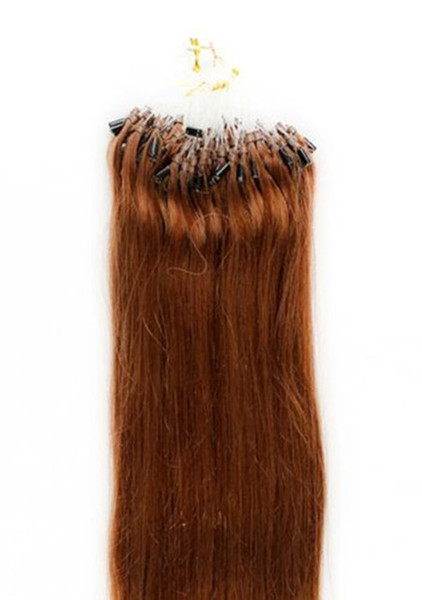 """Wholesale --5A 14""""- 24""""1g/s 100g/pack 30# light auburn Indian Remy Human Loop Hair Micro Ring Hair Extensions dhl free shpping"""