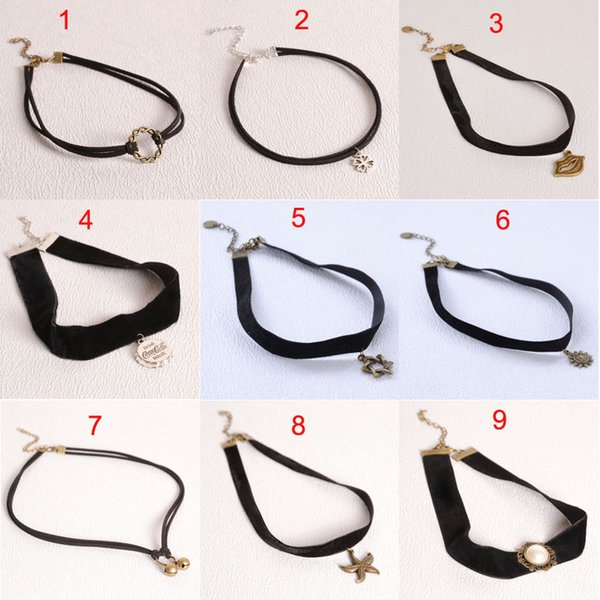 Fashion simple Velvet ribbon necklace Multi-style Lip sun star hook Chokers necklace torques cuff for women statement jewelry 160318