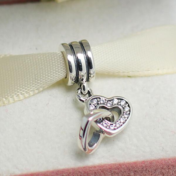 S925 Sterling Silver Interlocking Love Dangle Charm Bead with Clear Zirconia Fits European Pandora Jewelry Bracelet Necklace & Pendants