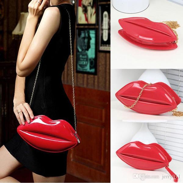 8 Farben populäre reizvolle Frauen-Dame Clutch Kette Shouder Beutel-Abend-Partei-Lippenform-Geldbeutel-Schultaschen-schwarzes rotes Rosa