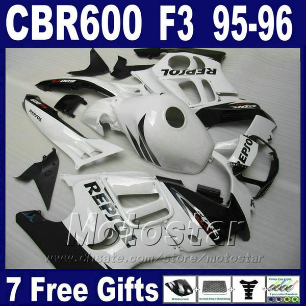 ABS plastic 7Gifts fairings for HONDA CBR 600 F3 95 96 white cbr600 f3 1995 1996 motobike fairing kit VN1J