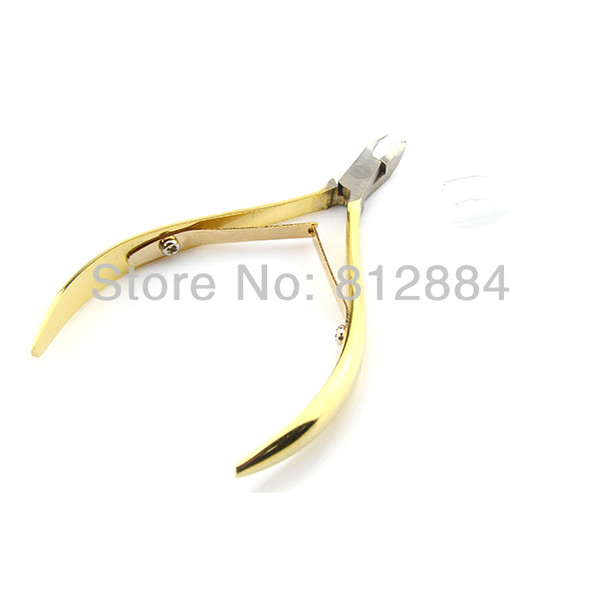 Wholesale-Gold Stainless Steel Manicure Toe Nail Toenail Cuticle Pedicure Clipper Plier Ingrown Scissors Nipper Cutter Nail Art Tool T313