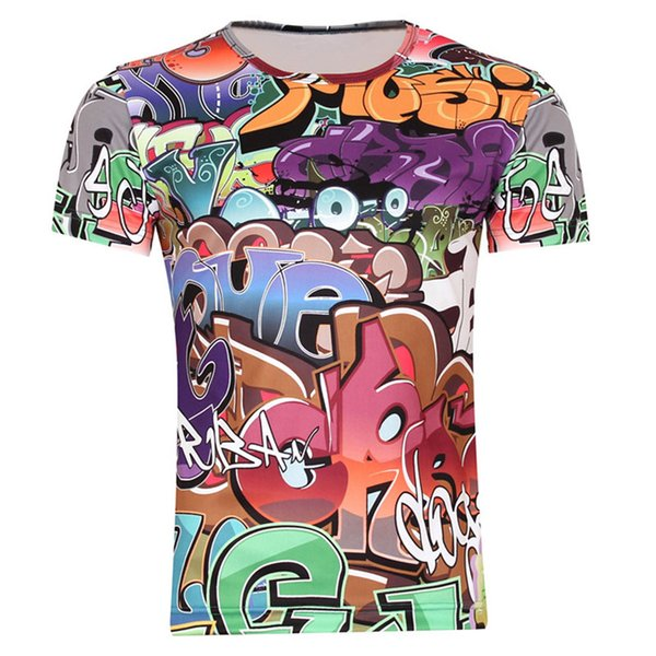 w1209 2015 Hot Sale High Quality Flower 3D Printed T-shirts, Punk Men's 3D Short Sleeve Tee Shirt XS- 6XL / Men 's T- Shirts