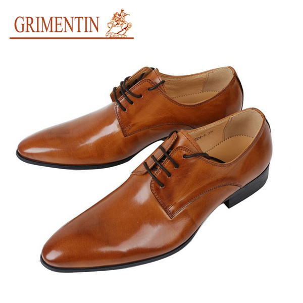 GRIMENTIN Hot sale Italian smart fashion mens dress shoes wedding genuine leather shoes for orange men office business size:38-44 OX16