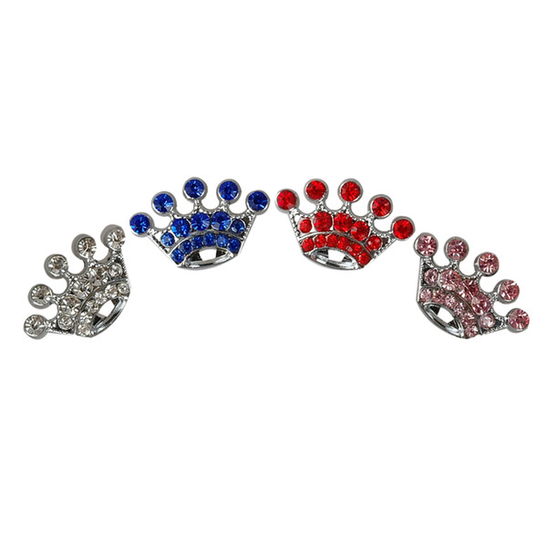 best selling (4 Colors) Crown 10mm Rhinestone Dog Pet Charms DIY slider Charms Mixed order free shipping