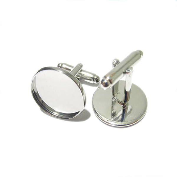 Beadsnice cufflink parts for jewelry making brass handmade cufflink wholesale with 16mm round cabochon tray ID8896