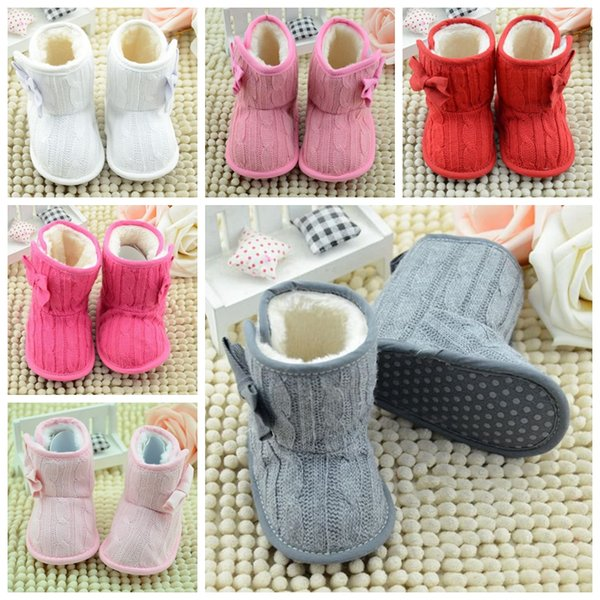 best selling Free Fedex Ship Winter New Toddler Fleece Snow Boots Baby Shoes Infant Knitted Bowknot Crib Shoes Baby Warmer Shoes with bow