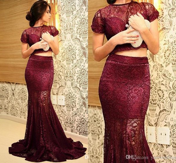 Top Fashion Burgundy Evening Dresses Arabic Two Pieces Short Sleeve Floor Length Mermaid Lace See Through Sexy Prom Dress Party Formal Dress
