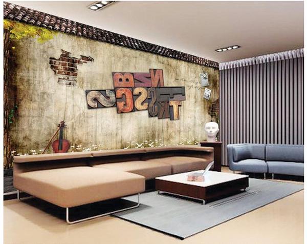 Custom photo wallpaper 3D European Brick metal letters retro sofa backdrop 3d wallpaper 3d mural wallpaper 201510488