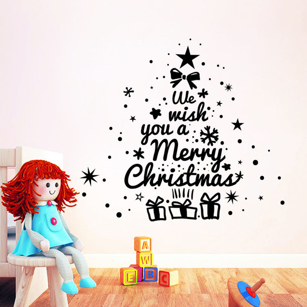 Merry Christmas Enlish Quotes Christmas Tree Wall Sticker Vinyl Wall Decals For Home Vinyl Carving Wall Art Decoration MC008