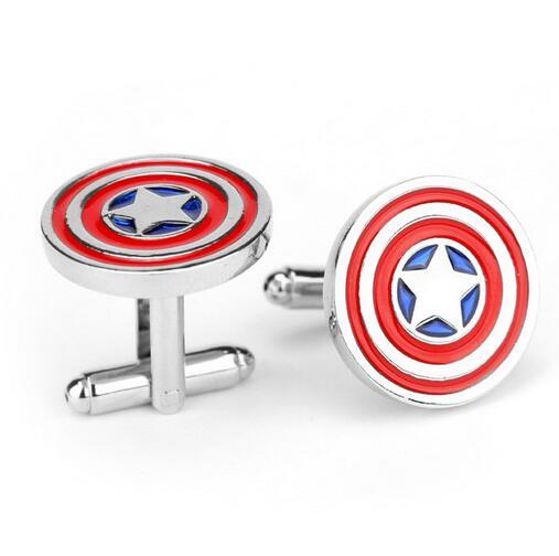Captain America Cufflinks Formal Shirt Sleeve Button Sparta warrior shield Pattern Cuff link Agents of S.H.I.E.L.D.