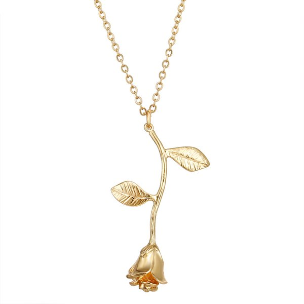 New jewelry exquisite 18K gold silver 3 colors rose shape pendant 46cm length necklace for girlfriend romantic Valentine's Day gift