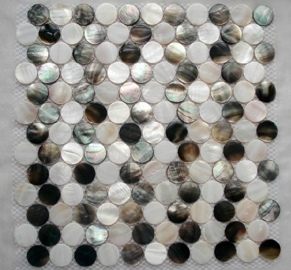 Penny round white black Mother of pearl kitchen backsplash tile MOP068 shell mosaic bathroom wall tiles