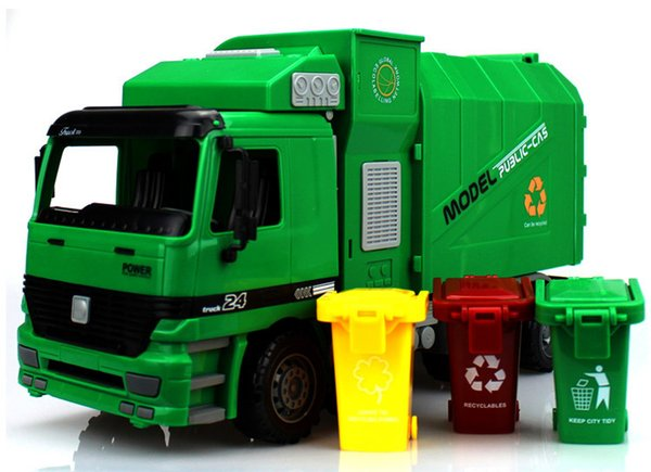 Kids oversized inertia garbage truck can be used to lift the trash can and the car toys