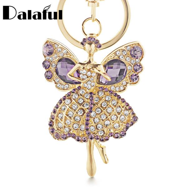 beijia Lucky Angel Wings Elves Crystal Keyrings Key Chains Holder Women Gift Fashion Novelty Keychains K244