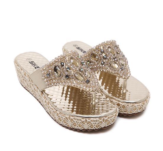 Glitter Handmade Rhinestone Sandals Women Flip Flops High Platform Beaded Shoes Size 35 To 40