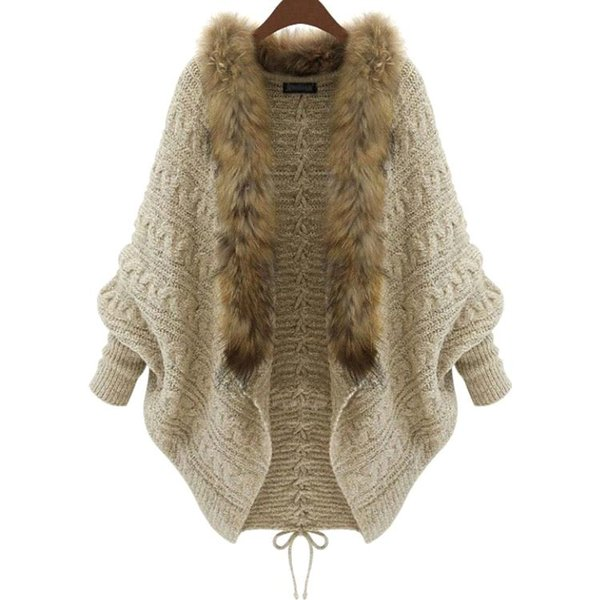 2018 Winter New Cardigan Poncho Fur Collar Outerwear Women Sweater Knitted Brand Casual Knitwear Jacket Free Shipping XL15100702