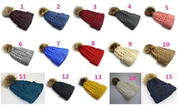 Retail 15 Colors Women's Fashion Knitted Cap Autumn Winter Cotton Warm Hat Skullies Heavy Hair Ball Twist Beanies Solid Color