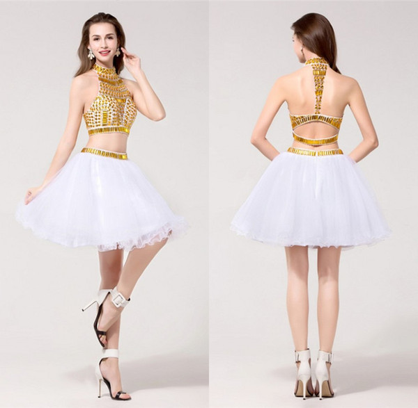 6cfbc15453d Short Homecoming Dresses Vestido De Formatura Golden Color Crystals High  Neck Sleeveless Tulle Puffy Sexy Graduation