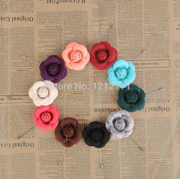 New Men brooch Flower lapel pin 5cm suit Boutonniere Fabric yarn pins 10 color suits button flower broochers Wholesale for wedding