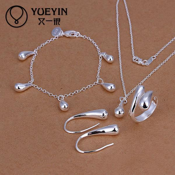 Wholesale-2016 Free Shipping Fashion 925 Silver Jewerly Set for Women Bridal Party Wedding jewelry sets Wholesale Cheap brincos