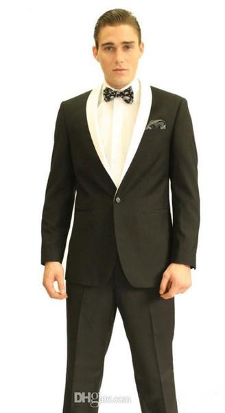 New Arrival One Button Groom Tuxedos Black Best man Shawl White Lapel Groomsman Men Wedding Suits Bridegroom (Jacket+Pants+Tie+Girdle)