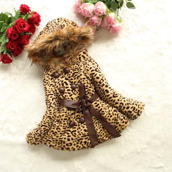 Capispalla caldo invernale per bambine. Cintura a doppio petto. Vestiti imbottiti in cotone. Abbigliamento per bambini. Cappotto per bambina di grano leopardo D619L